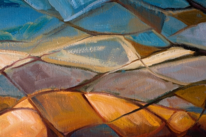 london contemporary artist painting of colorful trapezoids